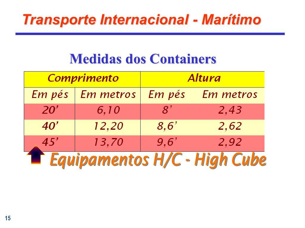15 Transporte Internacional - Marítimo Medidas dos Containers