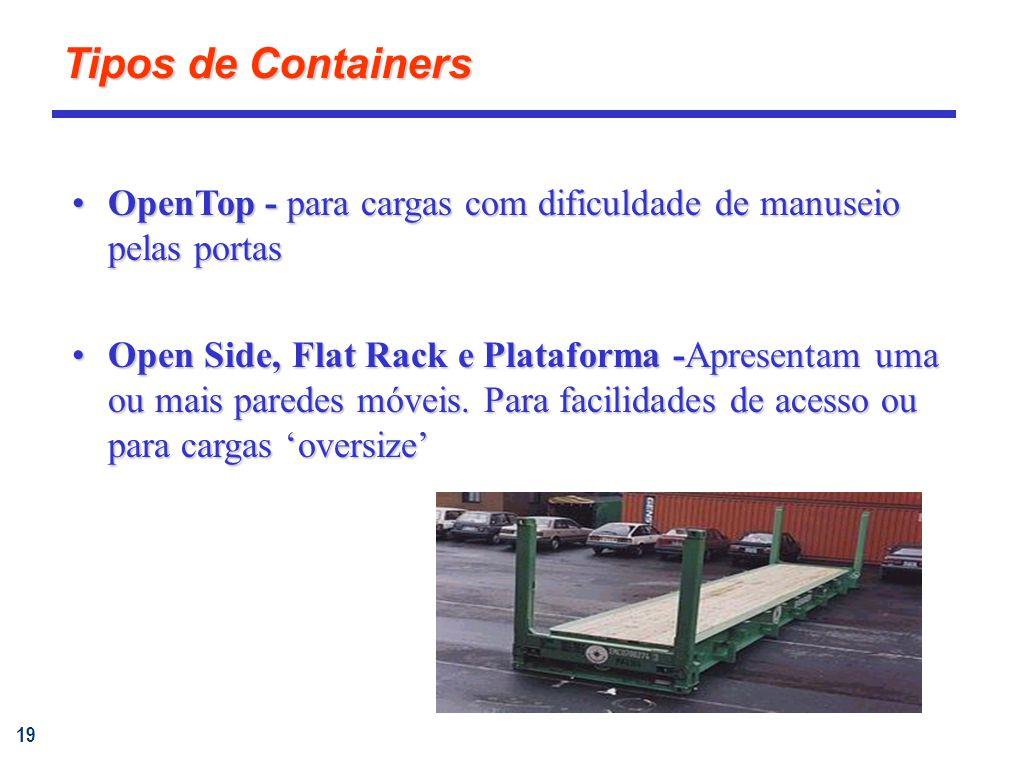 19 OpenTop - para cargas com dificuldade de manuseio pelas portasOpenTop - para cargas com dificuldade de manuseio pelas portas Open Side, Flat Rack e Plataforma -Apresentam uma ou mais paredes móveis.