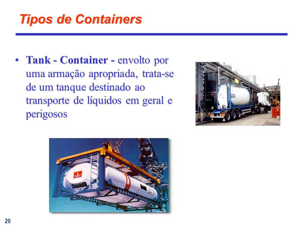 20 Tank - Container - envolto por uma armação apropriada, trata-se de um tanque destinado ao transporte de líquidos em geral e perigososTank - Container - envolto por uma armação apropriada, trata-se de um tanque destinado ao transporte de líquidos em geral e perigosos Tipos de Containers