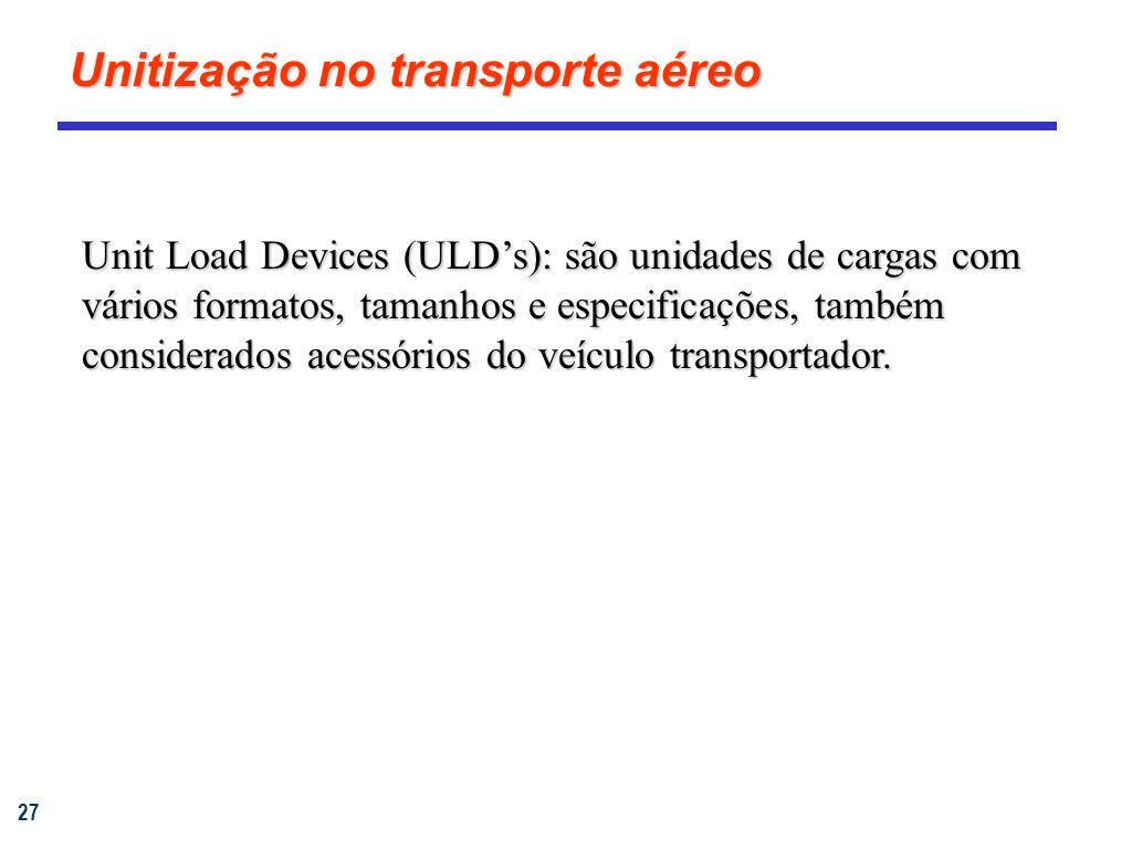 27 Unitização no transporte aéreo Unit Load Devices (ULDs): são unidades de cargas com vários formatos, tamanhos e especificações, também considerados acessórios do veículo transportador.