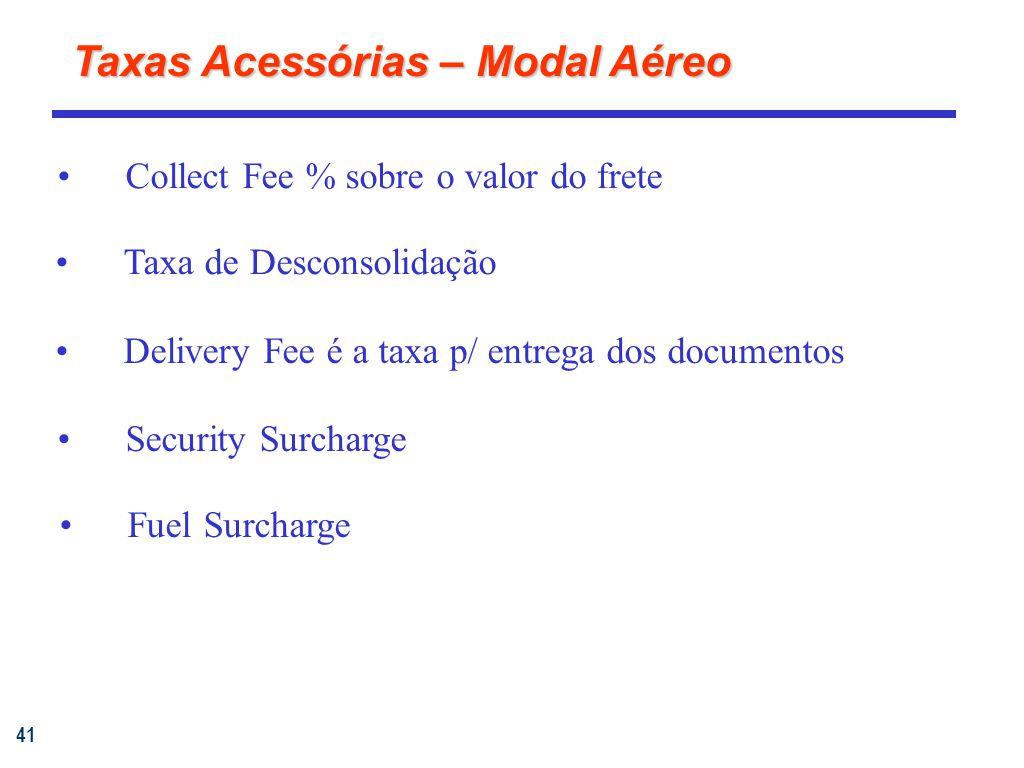 41 Collect Fee % sobre o valor do frete Taxa de Desconsolidação Delivery Fee é a taxa p/ entrega dos documentos Taxas Acessórias – Modal Aéreo Fuel Surcharge Security Surcharge