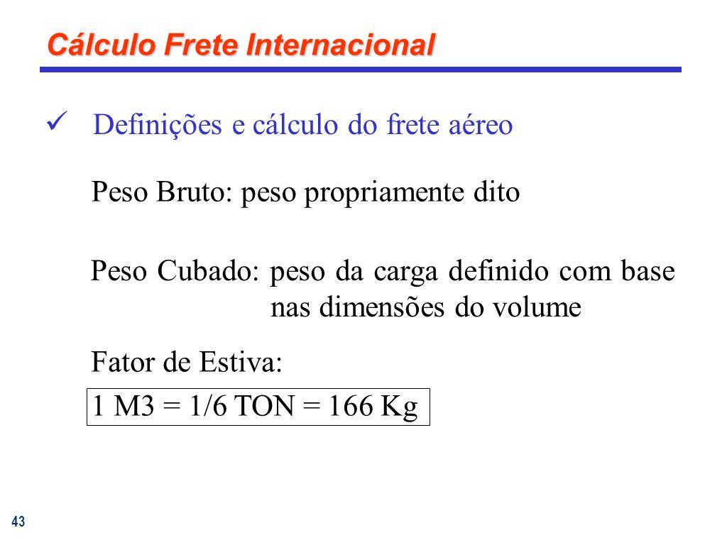 43 Definições e cálculo do frete aéreo Peso Cubado: peso da carga definido com base nas dimensões do volume Fator de Estiva: 1 M3 = 1/6 TON = 166 Kg Peso Bruto: peso propriamente dito Cálculo Frete Internacional