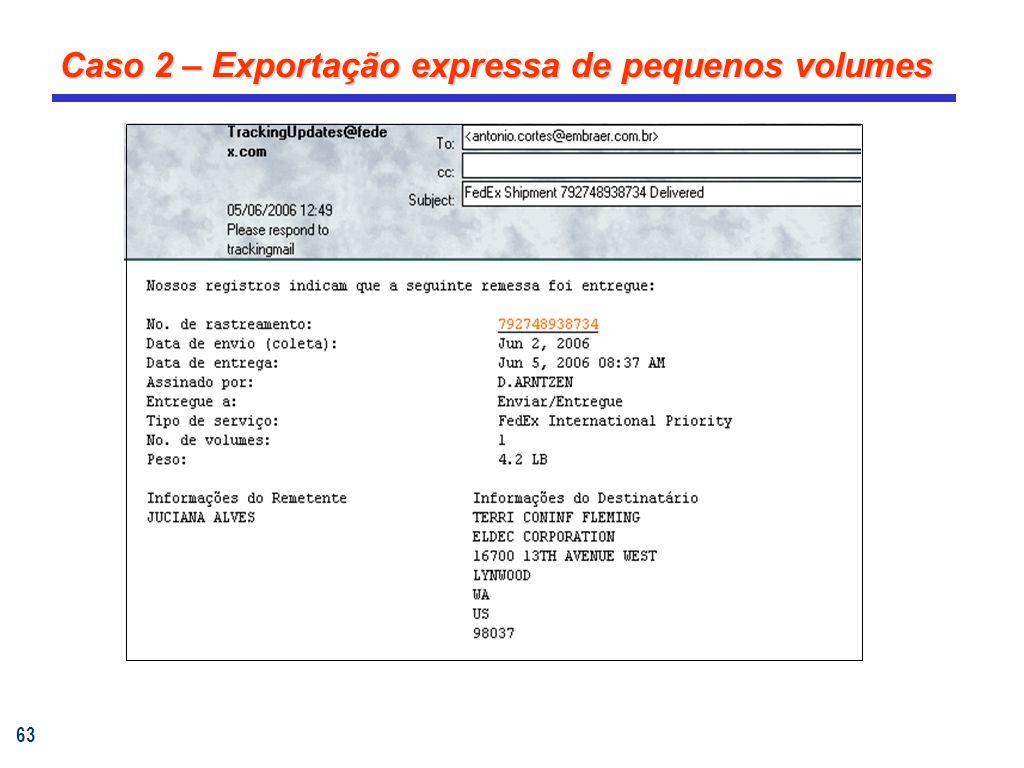 63 Caso 2 – Exportação expressa de pequenos volumes
