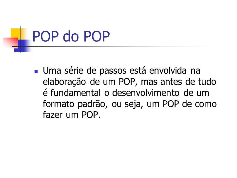 POP do POP Uma série de passos está envolvida na elaboração de um POP, mas antes de tudo é fundamental o desenvolvimento de um formato padrão, ou seja