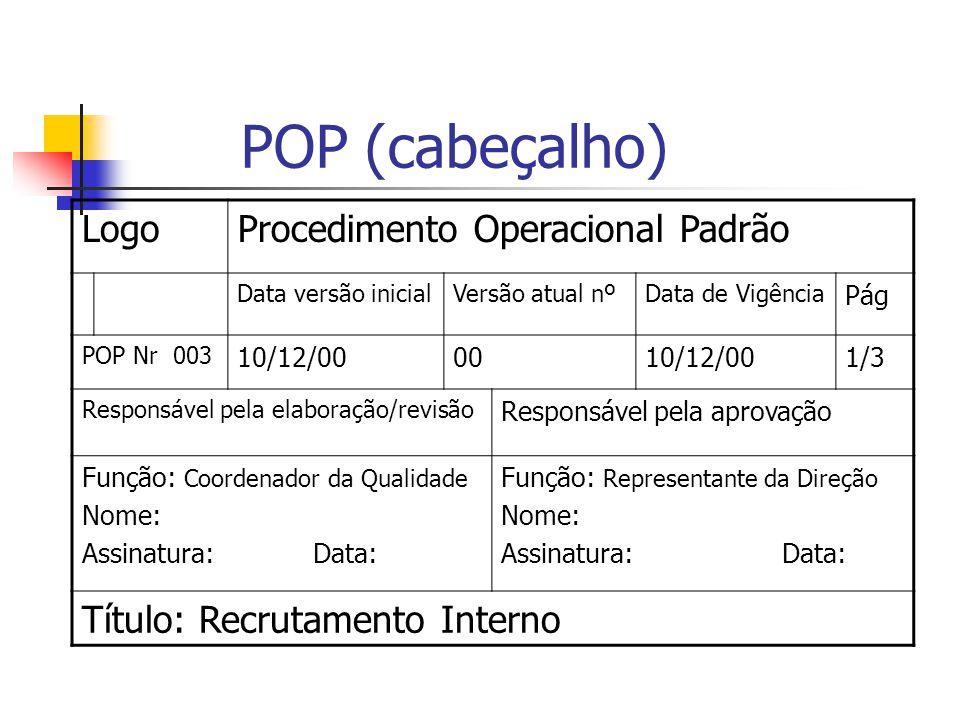 POP (cabeçalho) LogoProcedimento Operacional Padrão Data versão inicialVersão atual nºData de Vigência Pág POP Nr 003 10/12/000010/12/001/3 Responsáve