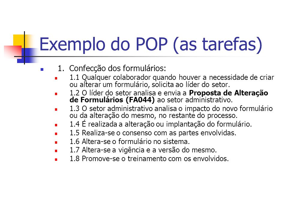 Exemplo do POP (as tarefas) 1.