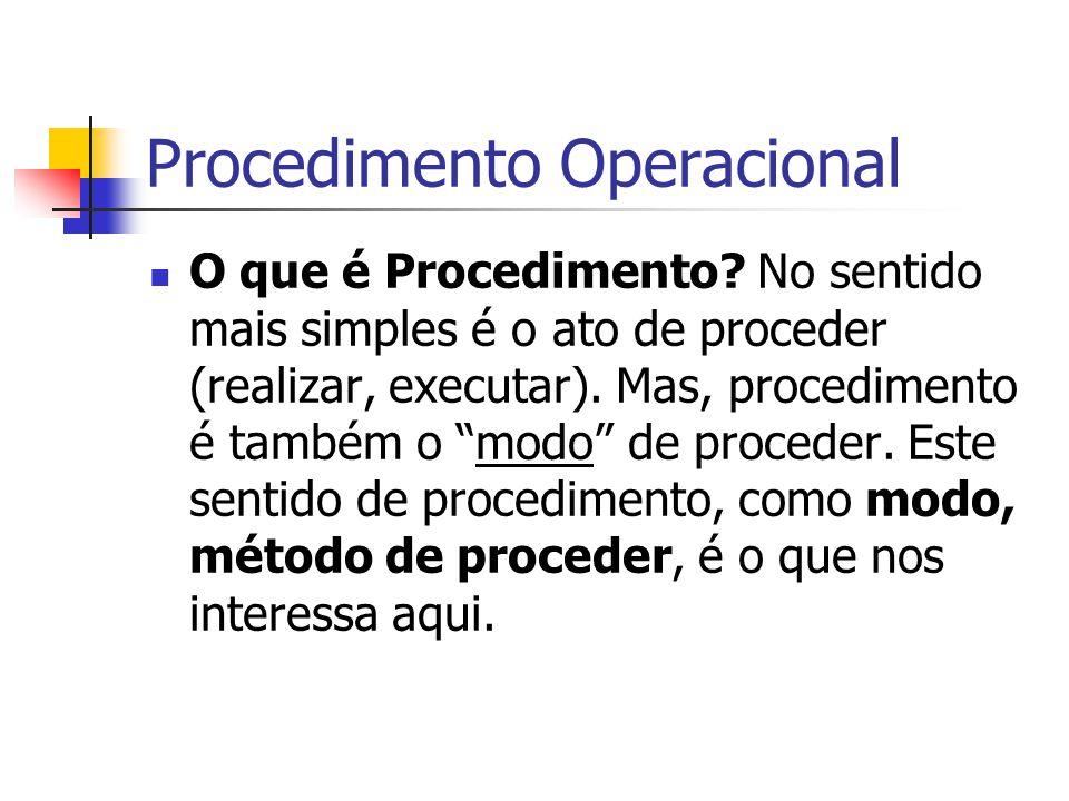 Procedimento Operacional O que é Procedimento? No sentido mais simples é o ato de proceder (realizar, executar). Mas, procedimento é também o modo de