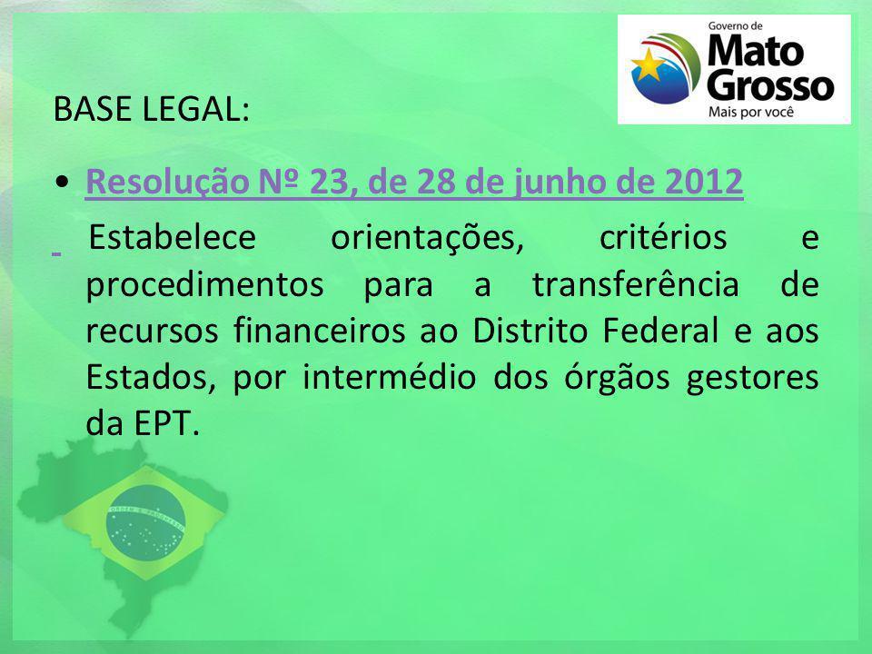 BASE LEGAL: Resolução Nº 23, de 28 de junho de 2012Resolução Nº 23, de 28 de junho de 2012 Estabelece orientações, critérios e procedimentos para a tr