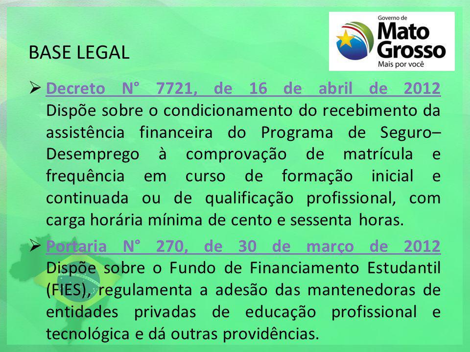 BASE LEGAL Decreto N° 7721, de 16 de abril de 2012 Dispõe sobre o condicionamento do recebimento da assistência financeira do Programa de Seguro– Dese