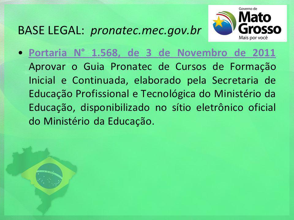 BASE LEGAL: pronatec.mec.gov.br Portaria N° 1.568, de 3 de Novembro de 2011 Aprovar o Guia Pronatec de Cursos de Formação Inicial e Continuada, elabor