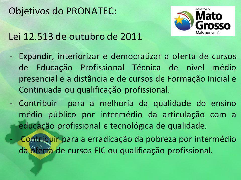 Objetivos do PRONATEC: Lei 12.513 de outubro de 2011 -Expandir, interiorizar e democratizar a oferta de cursos de Educação Profissional Técnica de nív