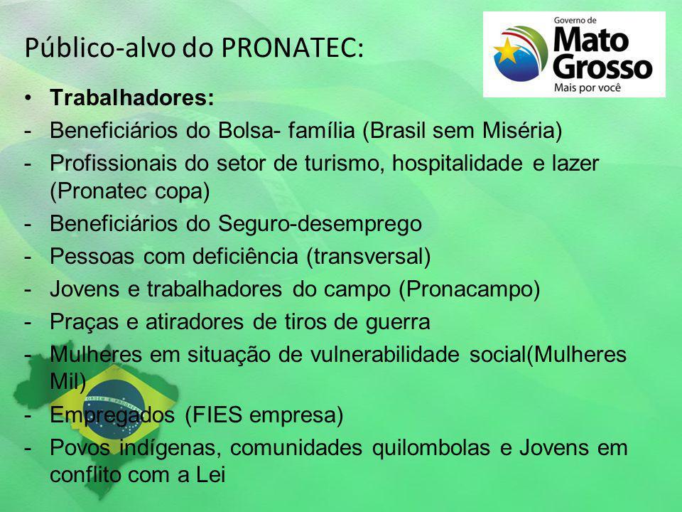 Público-alvo do PRONATEC: Trabalhadores: -Beneficiários do Bolsa- família (Brasil sem Miséria) -Profissionais do setor de turismo, hospitalidade e laz