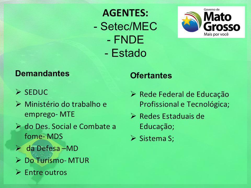 AGENTES: - Setec/MEC - FNDE - Estado Demandantes SEDUC Ministério do trabalho e emprego- MTE do Des. Social e Combate a fome- MDS da Defesa –MD Do Tur