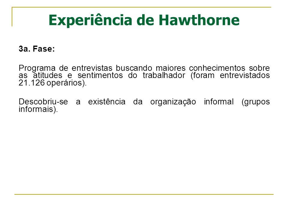 Experiência de Hawthorne 3a. Fase: Programa de entrevistas buscando maiores conhecimentos sobre as atitudes e sentimentos do trabalhador (foram entrev