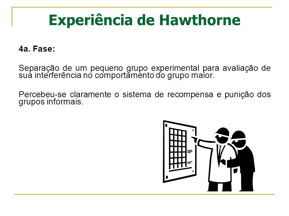 Experiência de Hawthorne 4a. Fase: Separação de um pequeno grupo experimental para avaliação de sua interferência no comportamento do grupo maior. Per