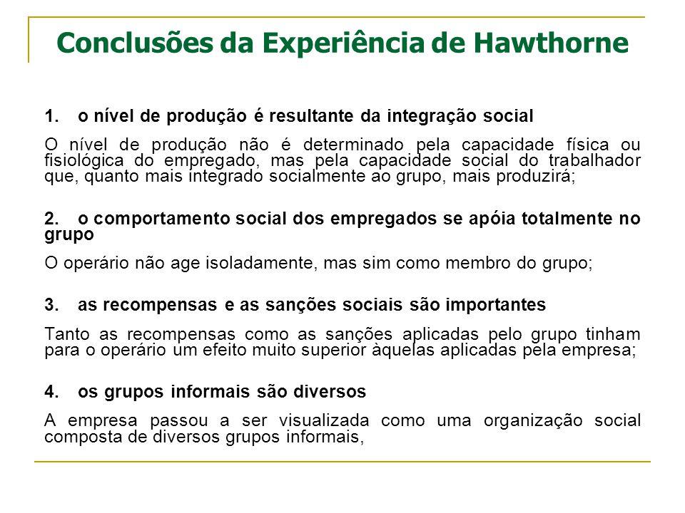 Conclusões da Experiência de Hawthorne 1.o nível de produção é resultante da integração social O nível de produção não é determinado pela capacidade f