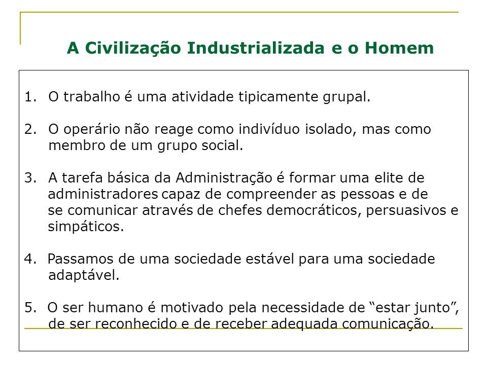 A Civilização Industrializada e o Homem 1.O trabalho é uma atividade tipicamente grupal. 2.O operário não reage como indivíduo isolado, mas como membr