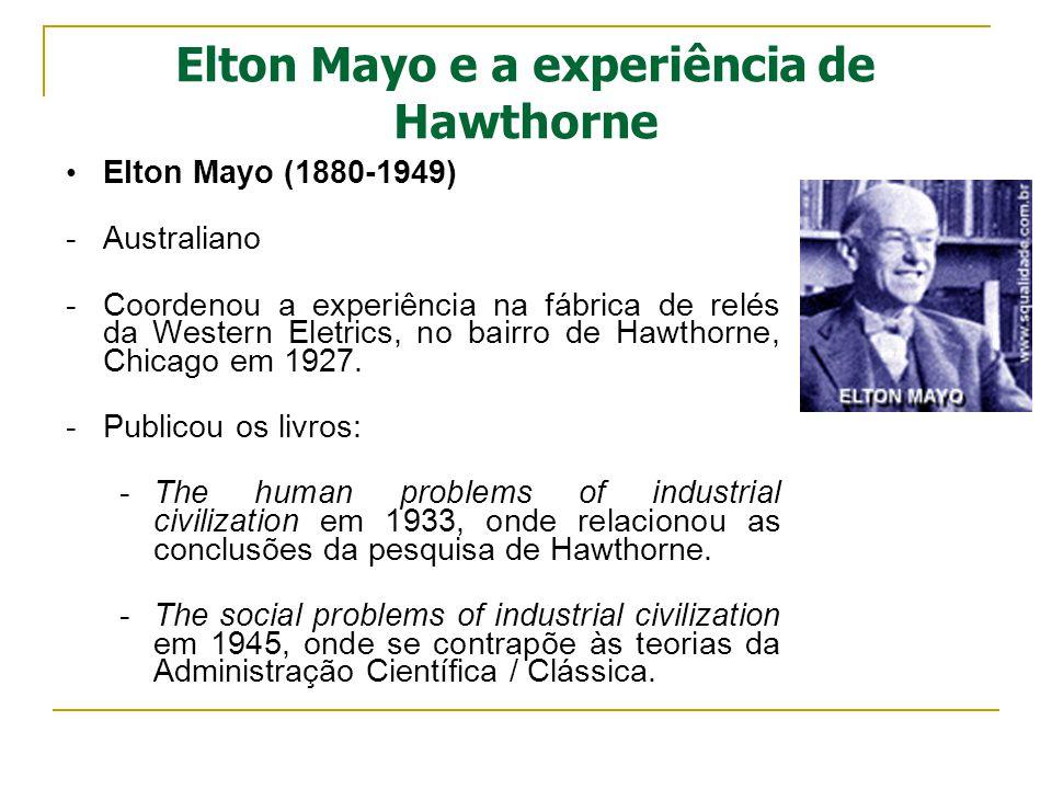 Elton Mayo e a experiência de Hawthorne Elton Mayo (1880-1949) -Australiano -Coordenou a experiência na fábrica de relés da Western Eletrics, no bairr