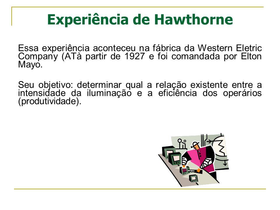 Experiência de Hawthorne Essa experiência aconteceu na fábrica da Western Eletric Company (ATà partir de 1927 e foi comandada por Elton Mayo. Seu obje