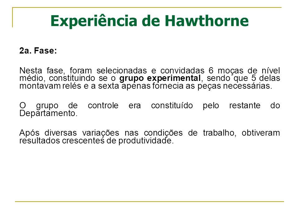 Experiência de Hawthorne 2a. Fase: Nesta fase, foram selecionadas e convidadas 6 moças de nível médio, constituindo se o grupo experimental, sendo que