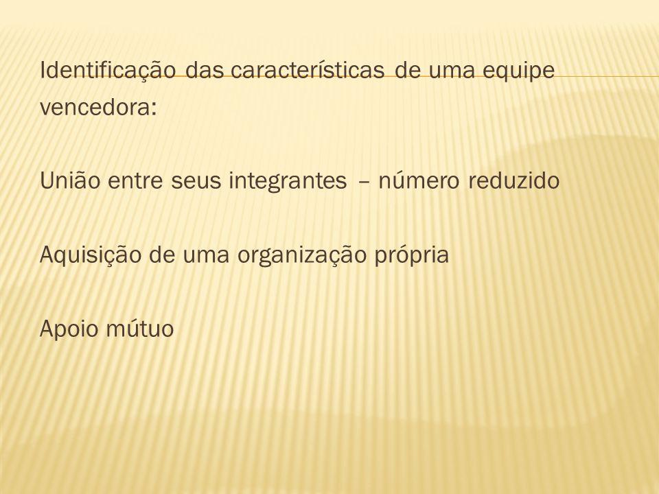 Identificação das características de uma equipe vencedora: União entre seus integrantes – número reduzido Aquisição de uma organização própria Apoio m