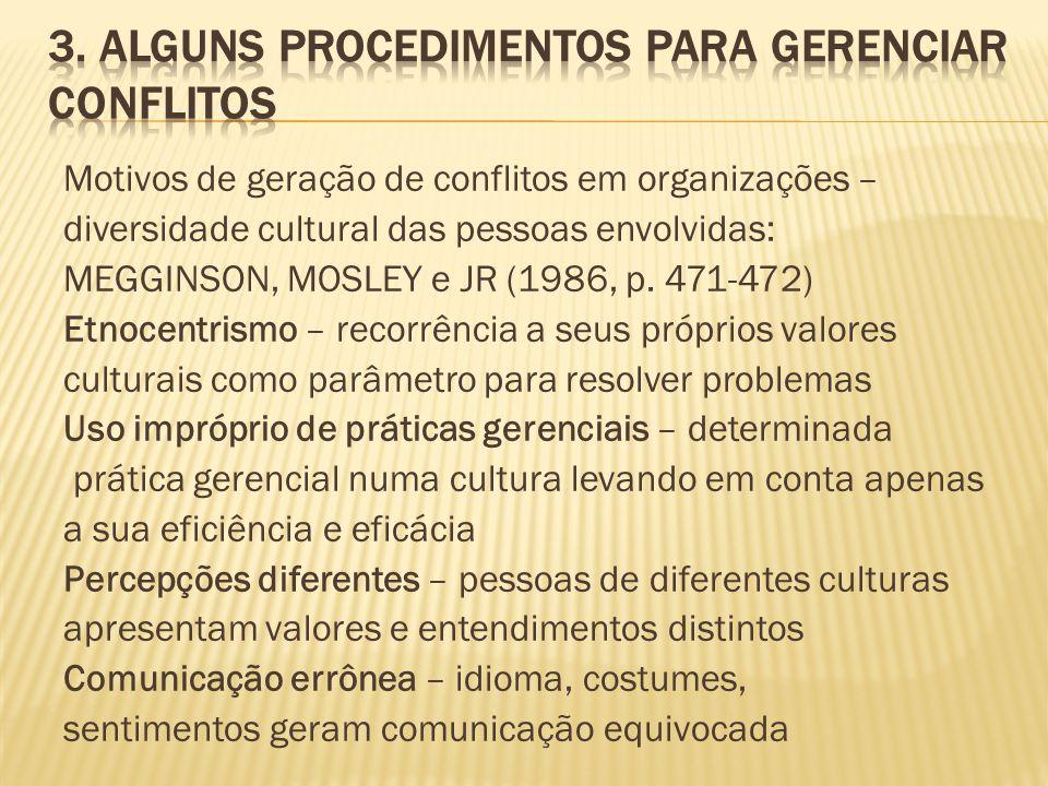 Motivos de geração de conflitos em organizações – diversidade cultural das pessoas envolvidas: MEGGINSON, MOSLEY e JR (1986, p. 471-472) Etnocentrismo
