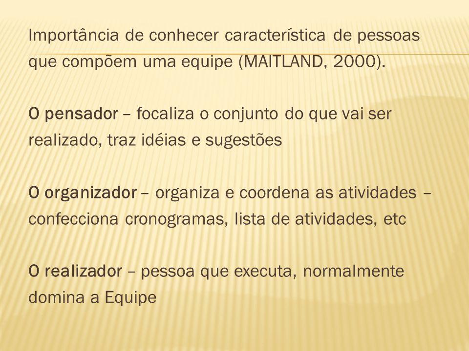 Importância de conhecer característica de pessoas que compõem uma equipe (MAITLAND, 2000). O pensador – focaliza o conjunto do que vai ser realizado,