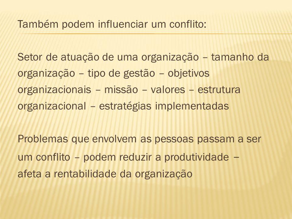 Também podem influenciar um conflito: Setor de atuação de uma organização – tamanho da organização – tipo de gestão – objetivos organizacionais – miss