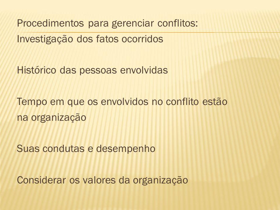 Procedimentos para gerenciar conflitos: Investigação dos fatos ocorridos Histórico das pessoas envolvidas Tempo em que os envolvidos no conflito estão