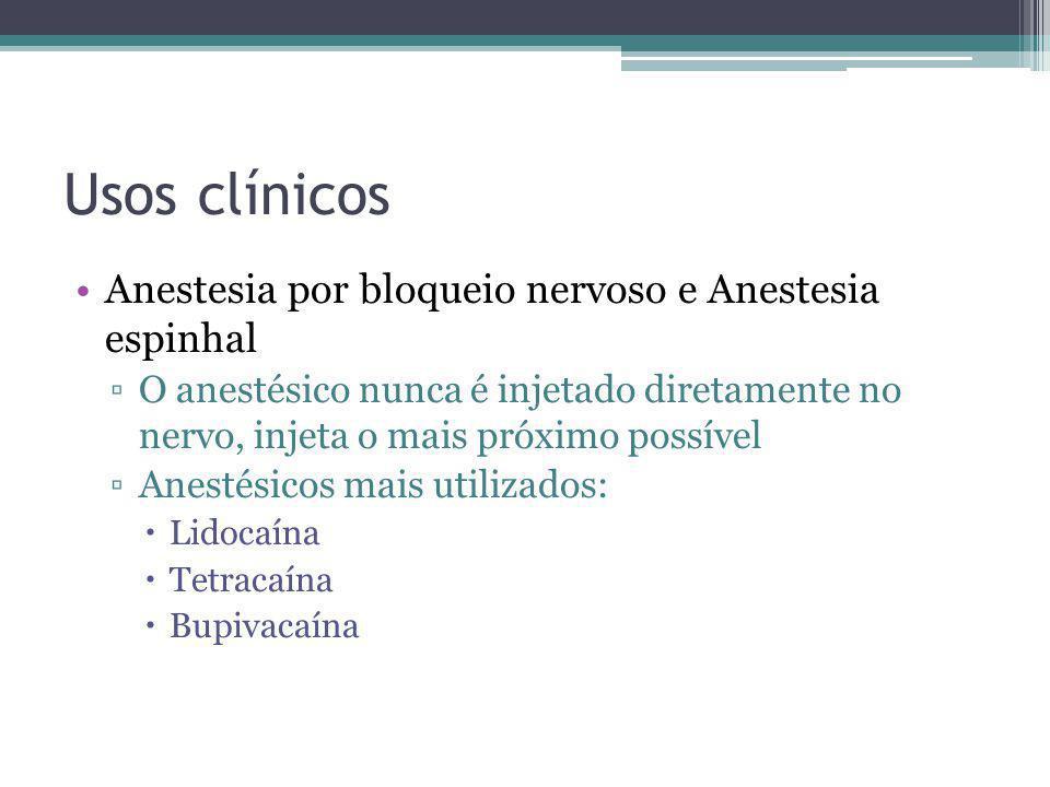 Usos clínicos Anestesia por bloqueio nervoso e Anestesia espinhal O anestésico nunca é injetado diretamente no nervo, injeta o mais próximo possível A