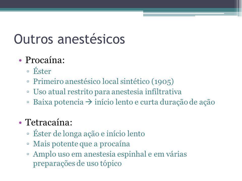 Outros anestésicos Procaína: Éster Primeiro anestésico local sintético (1905) Uso atual restrito para anestesia infiltrativa Baixa potencia início len