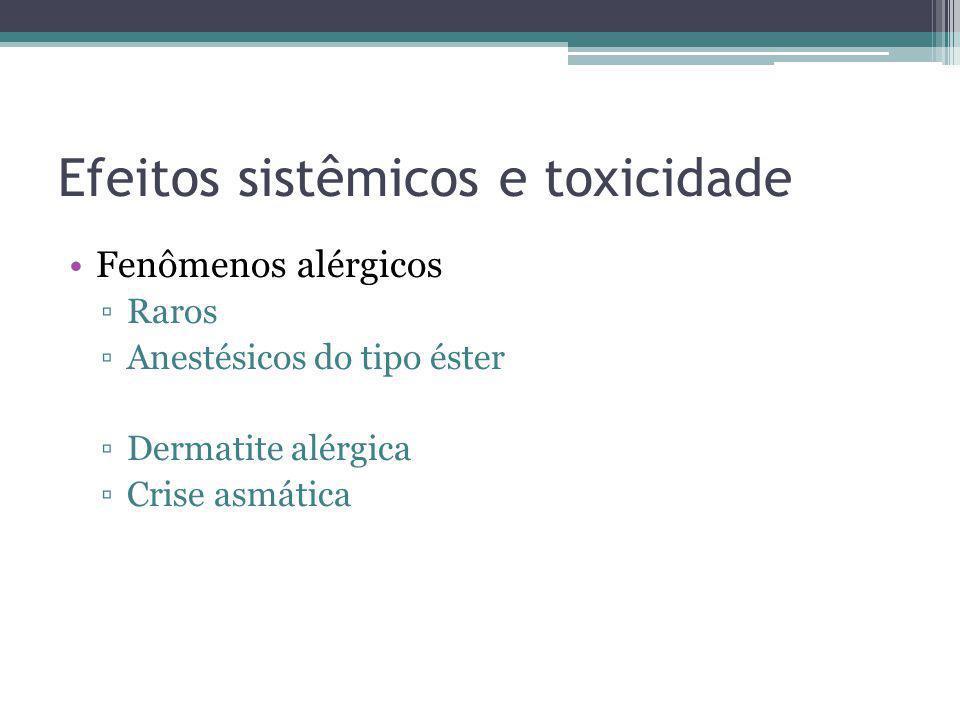 Efeitos sistêmicos e toxicidade Fenômenos alérgicos Raros Anestésicos do tipo éster Dermatite alérgica Crise asmática