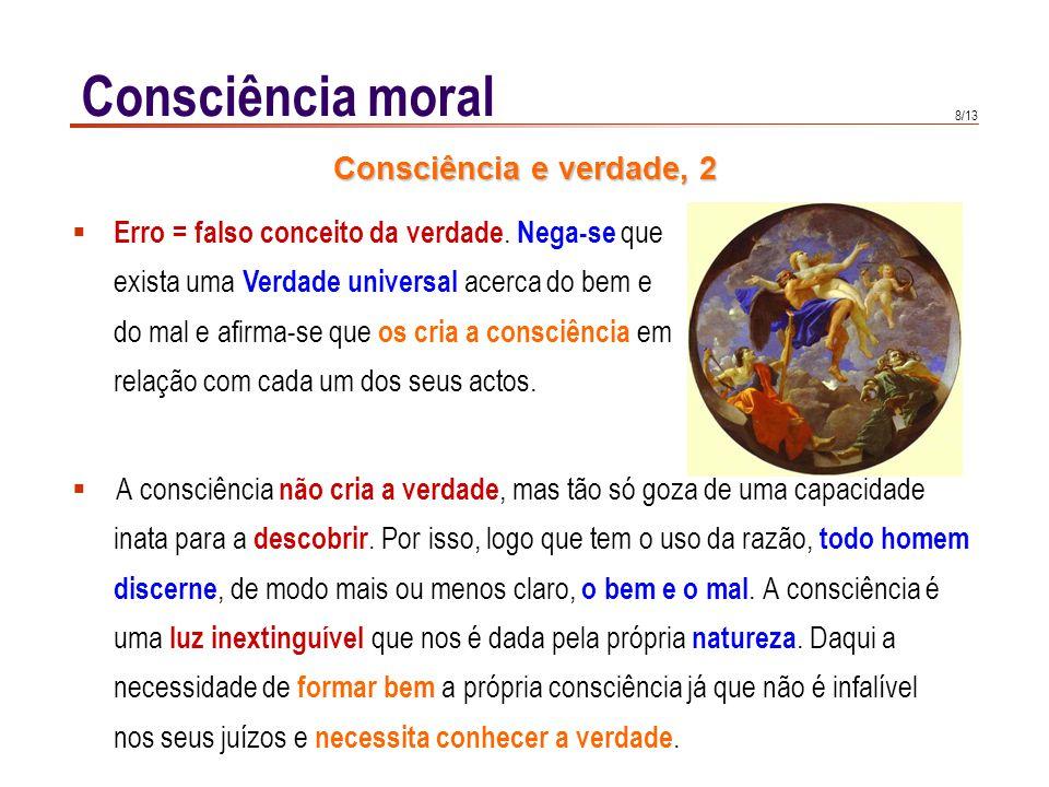 8/13 Consciência moral A consciência não cria a verdade, mas tão só goza de uma capacidade inata para a descobrir. Por isso, logo que tem o uso da raz