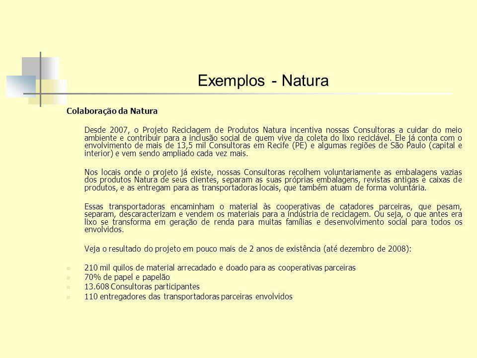 Exemplos - Natura Colaboração da Natura Desde 2007, o Projeto Reciclagem de Produtos Natura incentiva nossas Consultoras a cuidar do meio ambiente e c