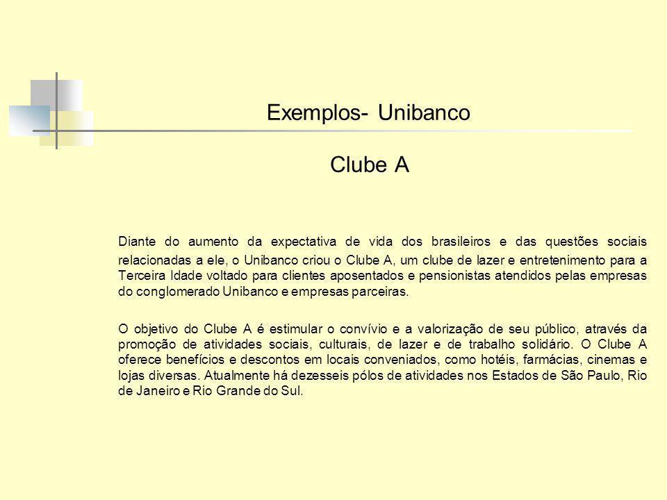 Exemplos- Unibanco Clube A Diante do aumento da expectativa de vida dos brasileiros e das questões sociais relacionadas a ele, o Unibanco criou o Club