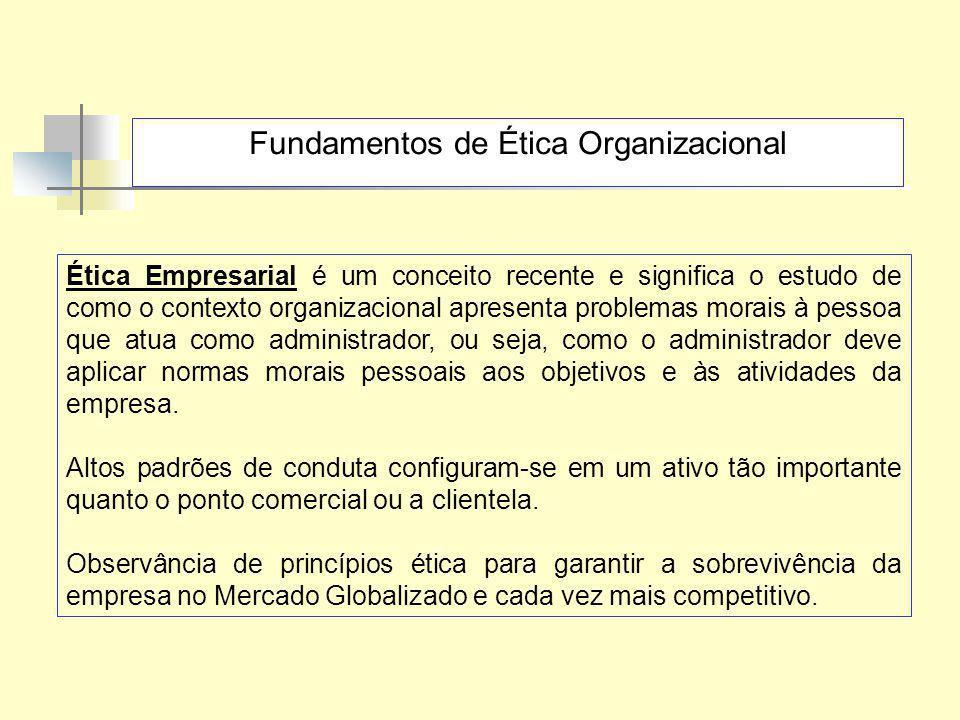 Fundamentos de Ética Organizacional Ética Empresarial é um conceito recente e significa o estudo de como o contexto organizacional apresenta problemas