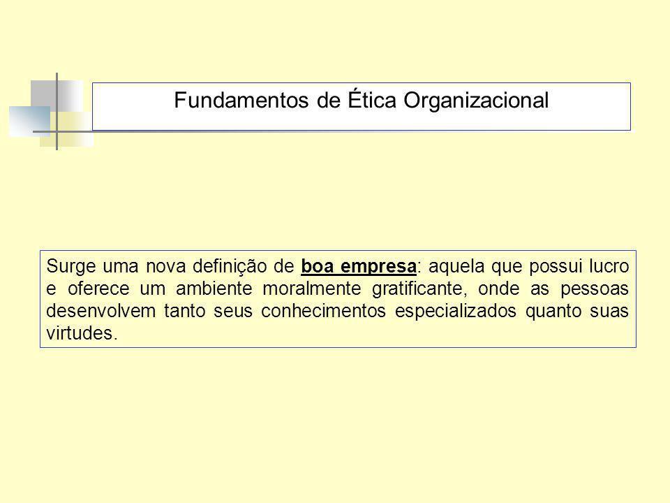Fundamentos de Ética Organizacional Surge uma nova definição de boa empresa: aquela que possui lucro e oferece um ambiente moralmente gratificante, on