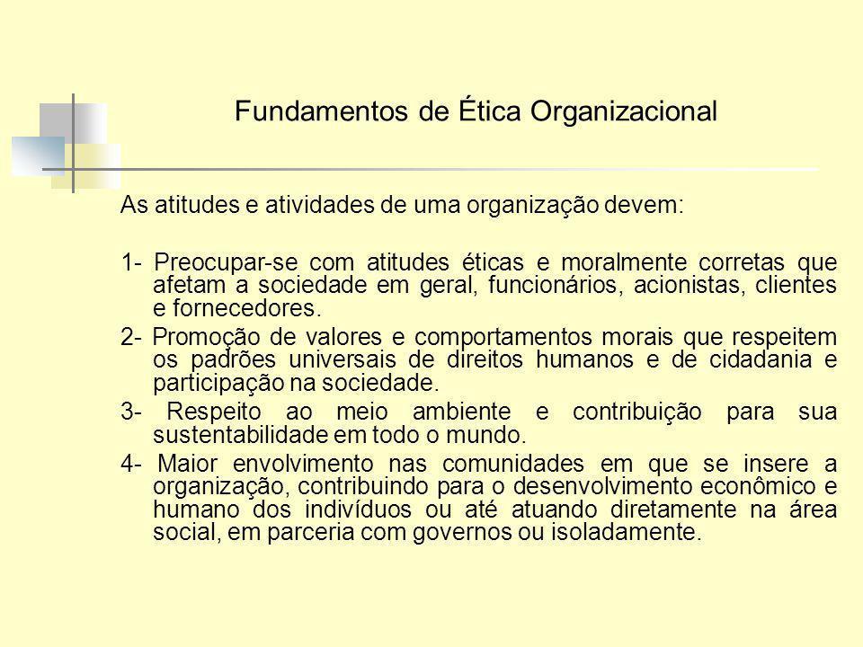 Fundamentos de Ética Organizacional As atitudes e atividades de uma organização devem: 1- Preocupar-se com atitudes éticas e moralmente corretas que a