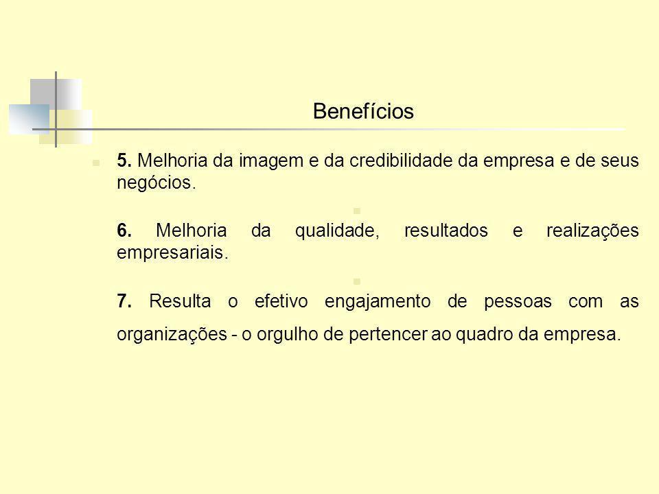 Benefícios 5. Melhoria da imagem e da credibilidade da empresa e de seus negócios. 6. Melhoria da qualidade, resultados e realizações empresariais. 7.