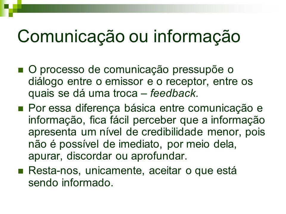 Comunicação ou informação O processo de comunicação pressupõe o diálogo entre o emissor e o receptor, entre os quais se dá uma troca – feedback. Por e