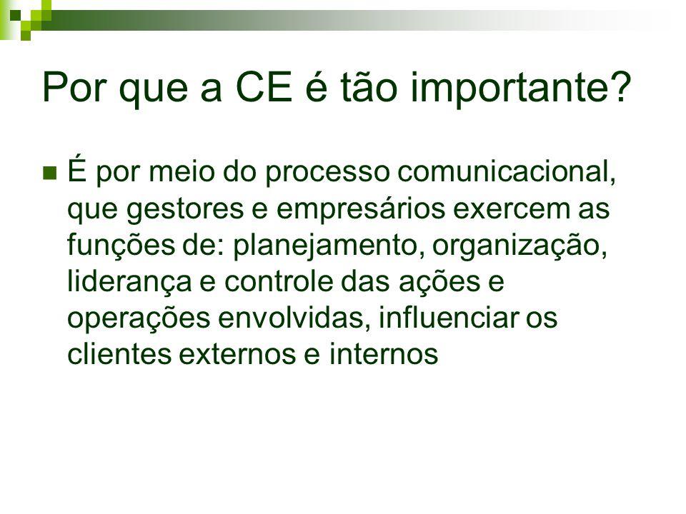 Por que a CE é tão importante? É por meio do processo comunicacional, que gestores e empresários exercem as funções de: planejamento, organização, lid
