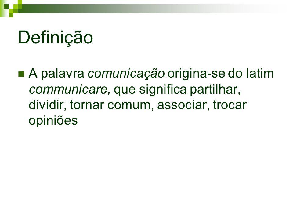 Definição A palavra comunicação origina-se do latim communicare, que significa partilhar, dividir, tornar comum, associar, trocar opiniões