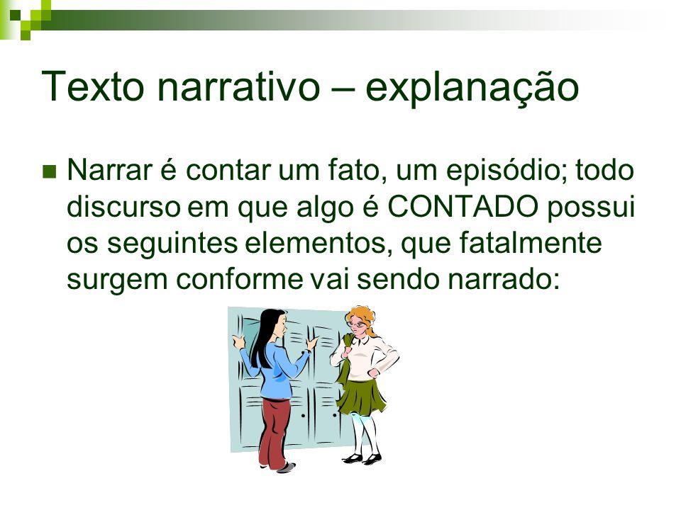 Texto narrativo – explanação Narrar é contar um fato, um episódio; todo discurso em que algo é CONTADO possui os seguintes elementos, que fatalmente s