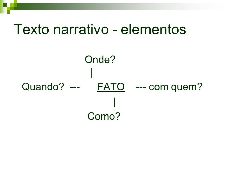 Texto narrativo - elementos Onde? | Quando? --- FATO --- com quem? | Como?