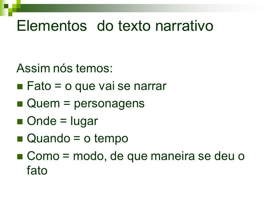 Elementos do texto narrativo Assim nós temos: Fato = o que vai se narrar Quem = personagens Onde = lugar Quando = o tempo Como = modo, de que maneira