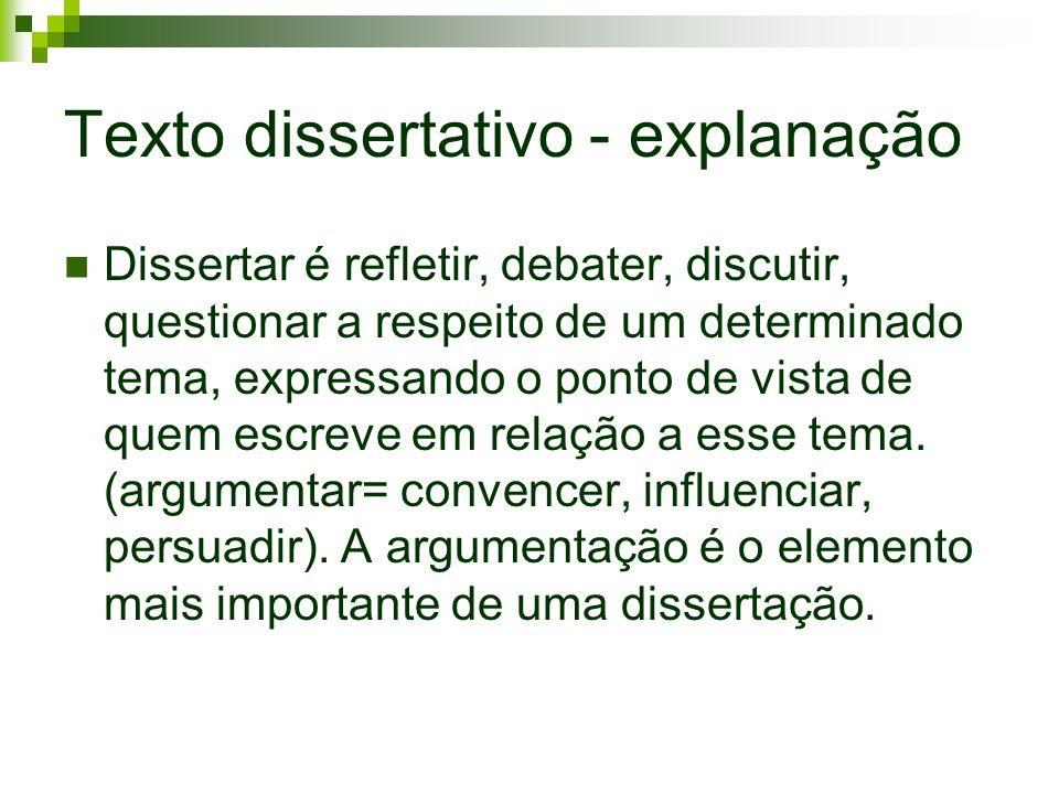 Texto dissertativo - explanação Dissertar é refletir, debater, discutir, questionar a respeito de um determinado tema, expressando o ponto de vista de