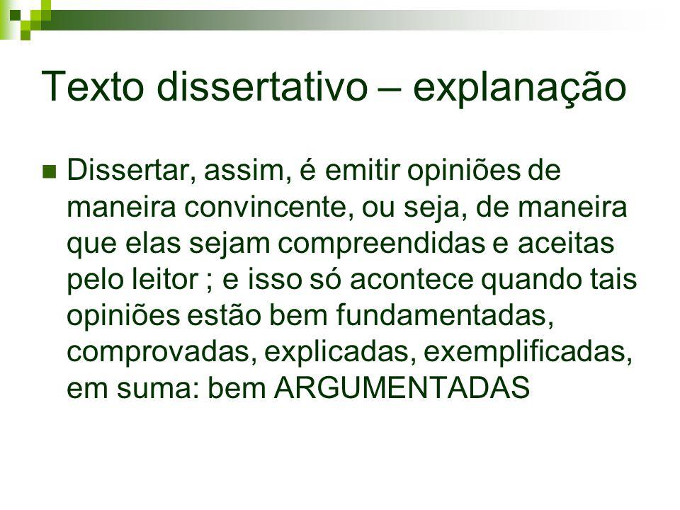Texto dissertativo – explanação Dissertar, assim, é emitir opiniões de maneira convincente, ou seja, de maneira que elas sejam compreendidas e aceitas