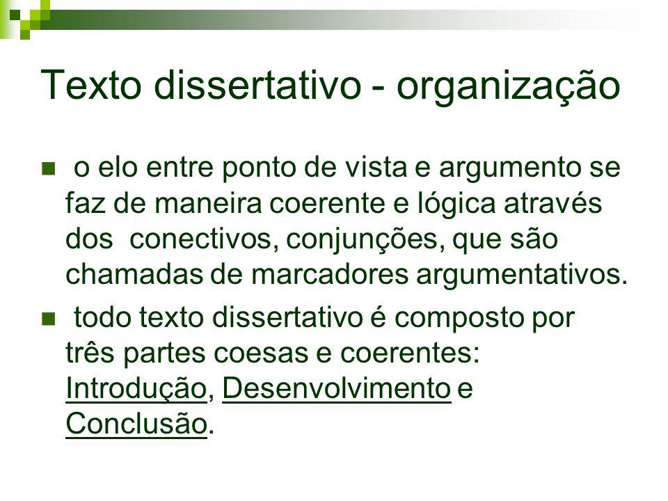 Texto dissertativo - organização o elo entre ponto de vista e argumento se faz de maneira coerente e lógica através dos conectivos, conjunções, que sã