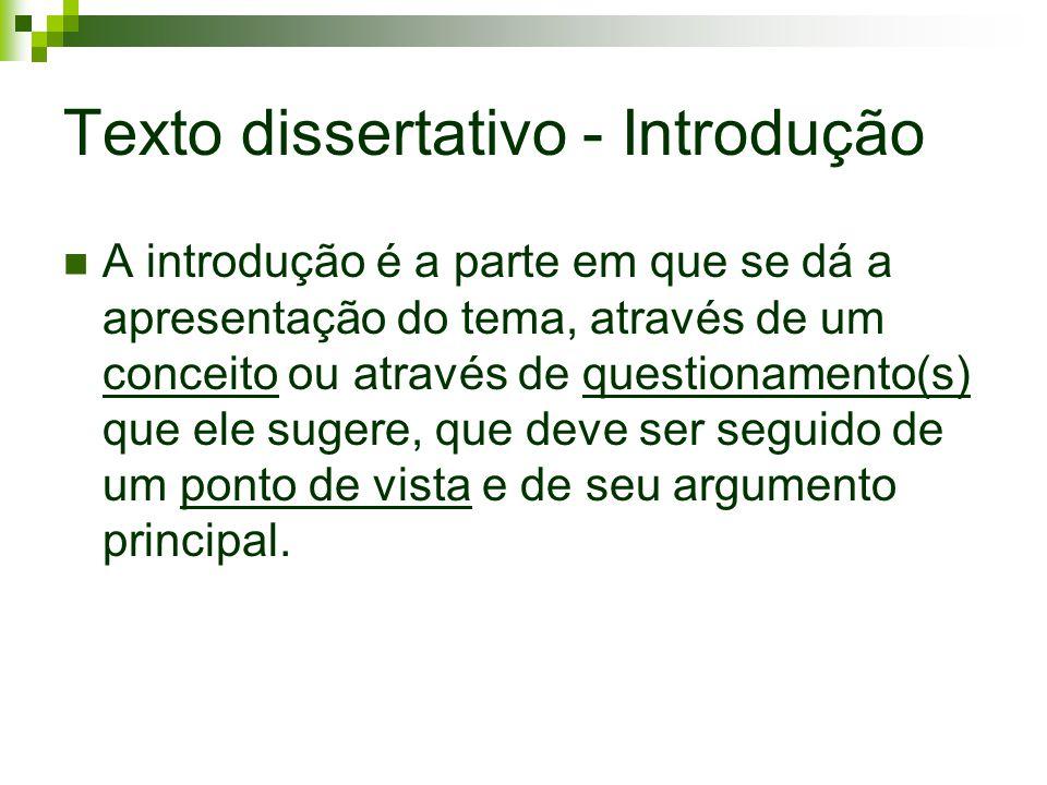 Texto dissertativo - Introdução A introdução é a parte em que se dá a apresentação do tema, através de um conceito ou através de questionamento(s) que