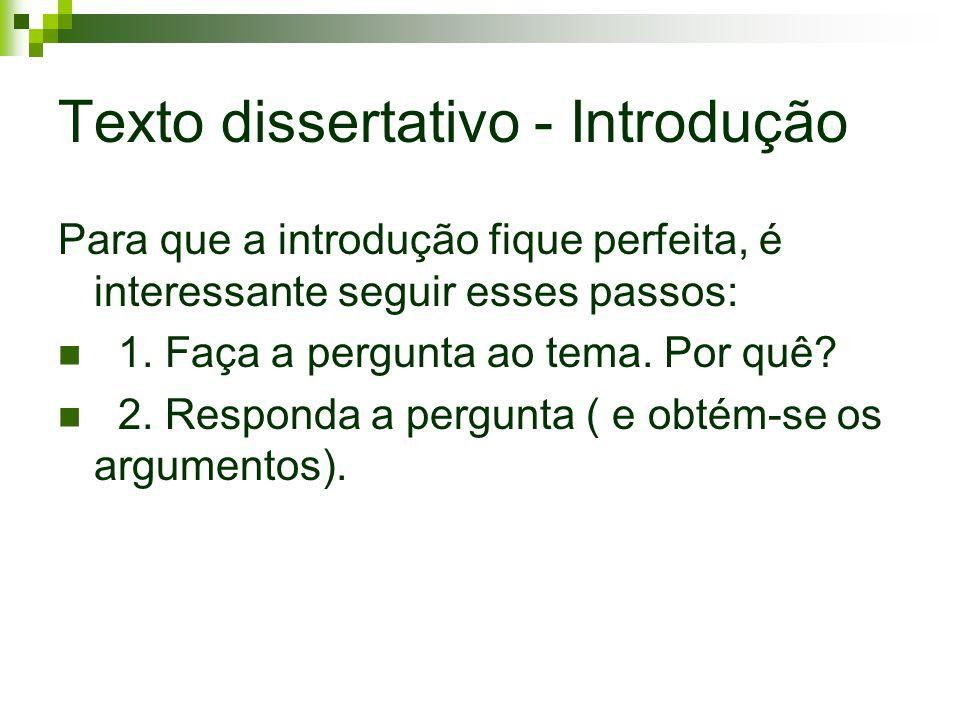 Texto dissertativo - Introdução Para que a introdução fique perfeita, é interessante seguir esses passos: 1. Faça a pergunta ao tema. Por quê? 2. Resp